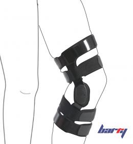 Ортез на коленный сустав с двумя металлическими шинами и регулируемыми шарнирами Barry K-02 (Левый,  S)